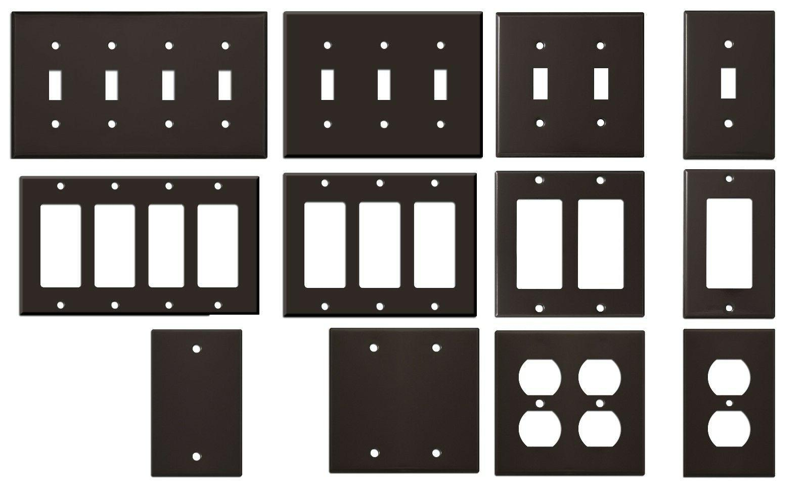 light gloss brown metal wall plate covers