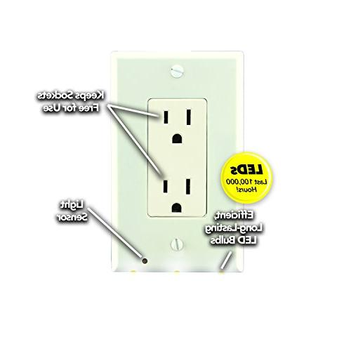 Night Angel Outlet Coverplate Light and Built-In LED Guidelights Square Outlets Decor