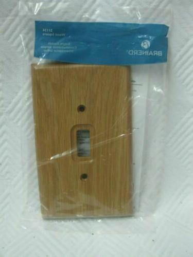 = Lot of 3 Brainerd Single Switch Plate Covers Medium Oak Wo