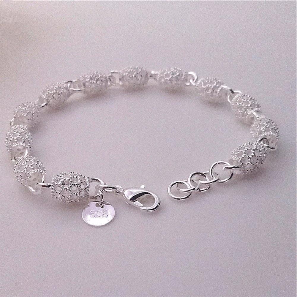 Lovely Bracelet <font><b>Silver</b></font> Charm Bangle Jewelry Hollow <font><b>Wall</b></font> <font><b>Silver</b></font> Plated Hand Chain