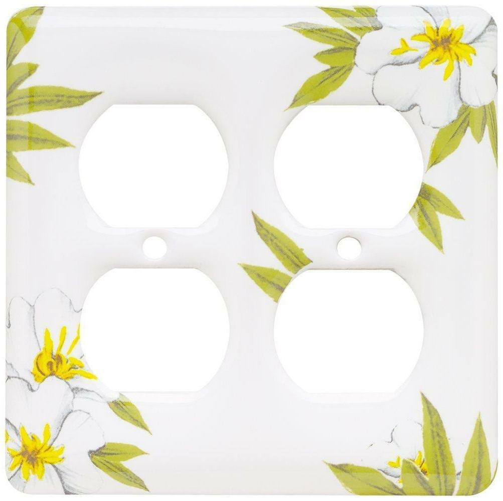 Magnolia Double Duplex Wall Plate Ceramic Brainerd 64527