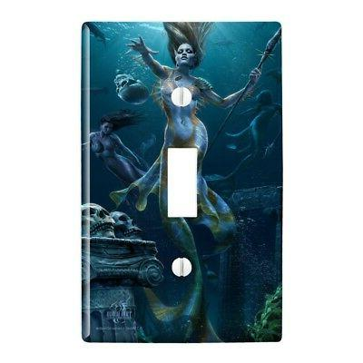 Mermaid Ocean Hunt Plastic Wall Decor Toggle Light Switch Pl