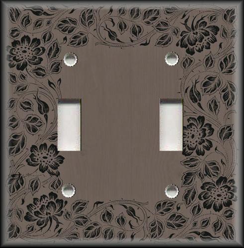 Metal Light Switch Plate Cover - Floral Framed Wood Design B