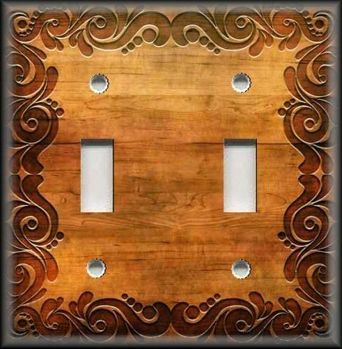 Metal Light Switch Plate Cover - Swirl Frame Wood Image Copp