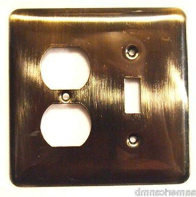Brainerd Wall Single Switch Cover Antique Brass