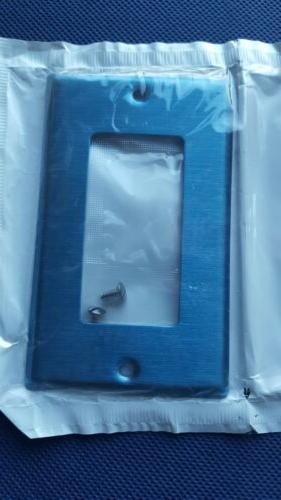New Leviton Blue Finish Metal Switch Cover Wall Plate 1L37C0