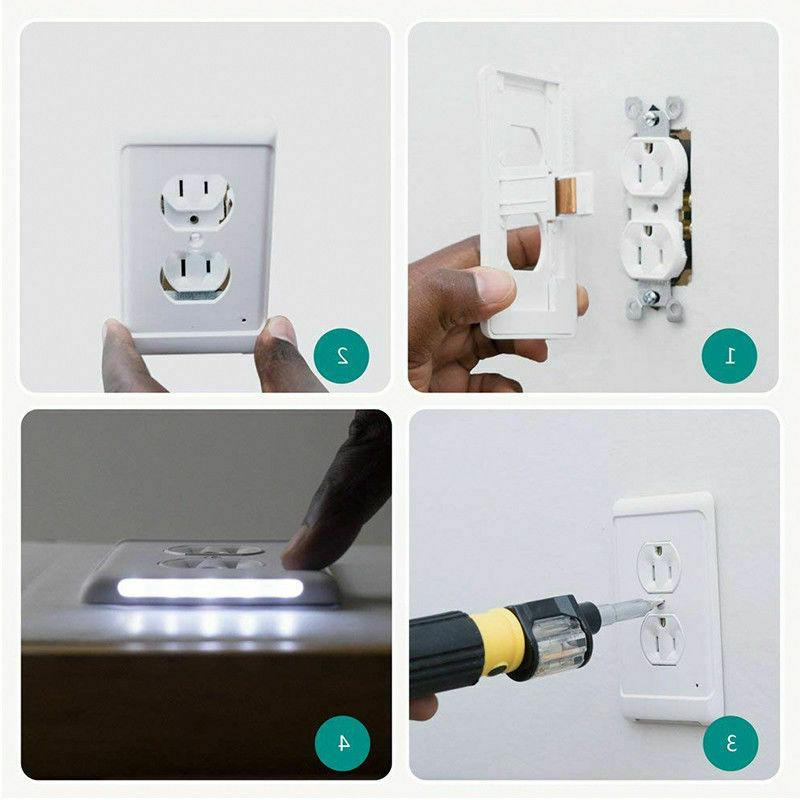 Night Wall duplex outlet cover 3 lights with auto Sensor