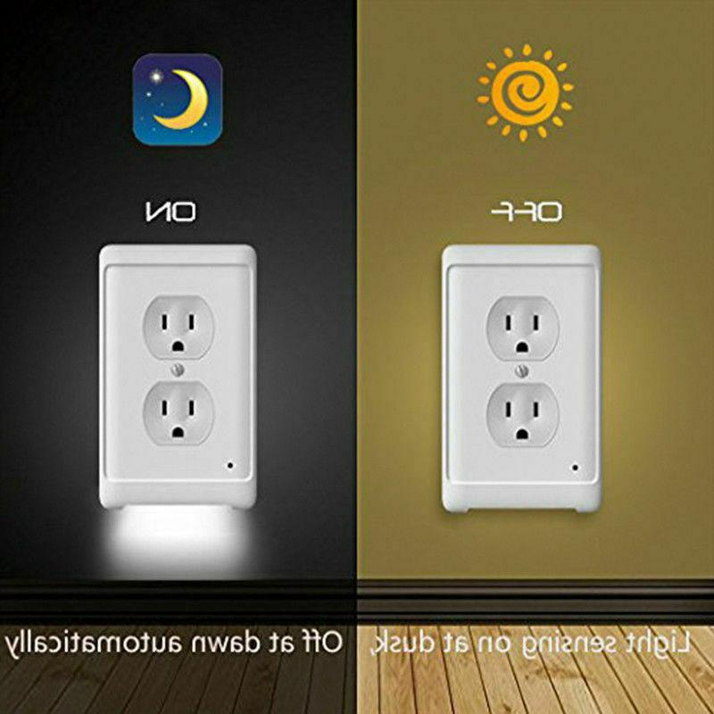 Night duplex outlet cover 3 LED lights auto Sensor