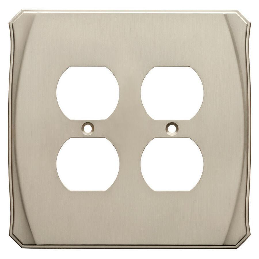 Nickel Double Duplex Wall Plate Double Outlet Brainerd W3447