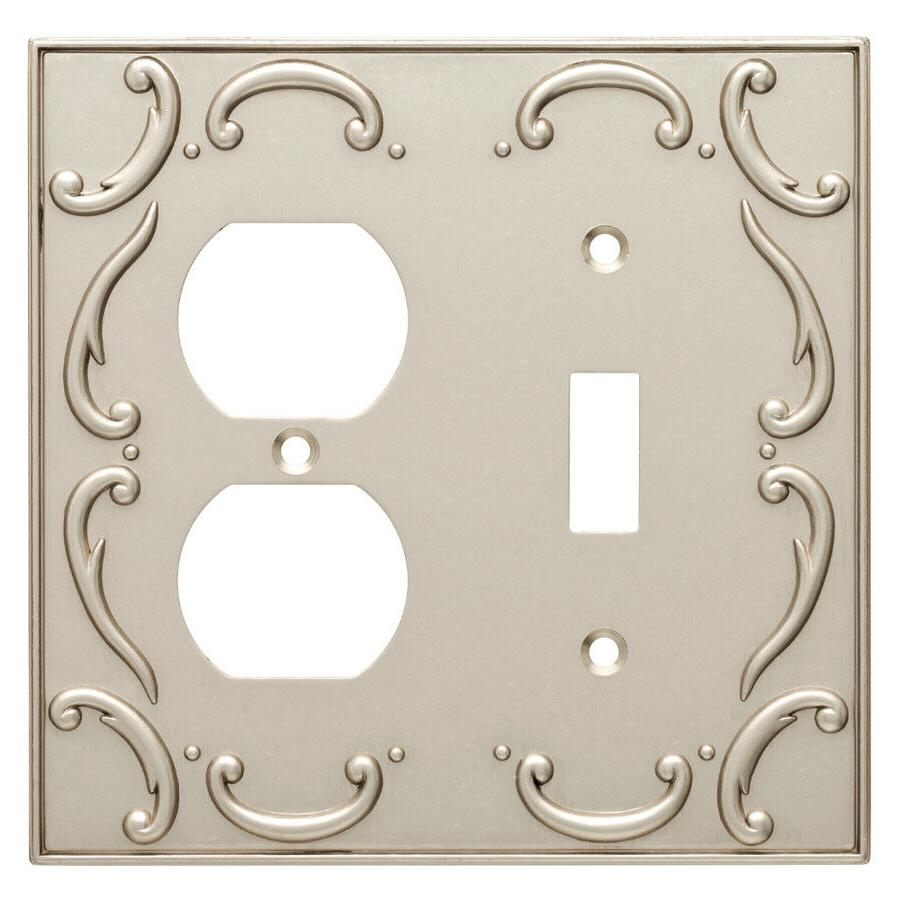 nickel double duplex wall plate french lace