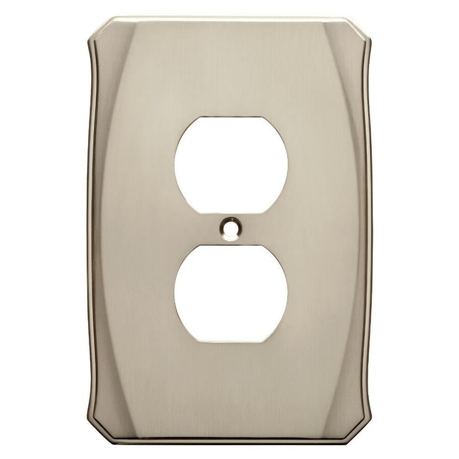 Nickel Duplex Wall Plate Single Outlet Brainerd W34473