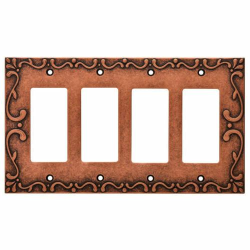 nickel quad decorator wall plate classic lace