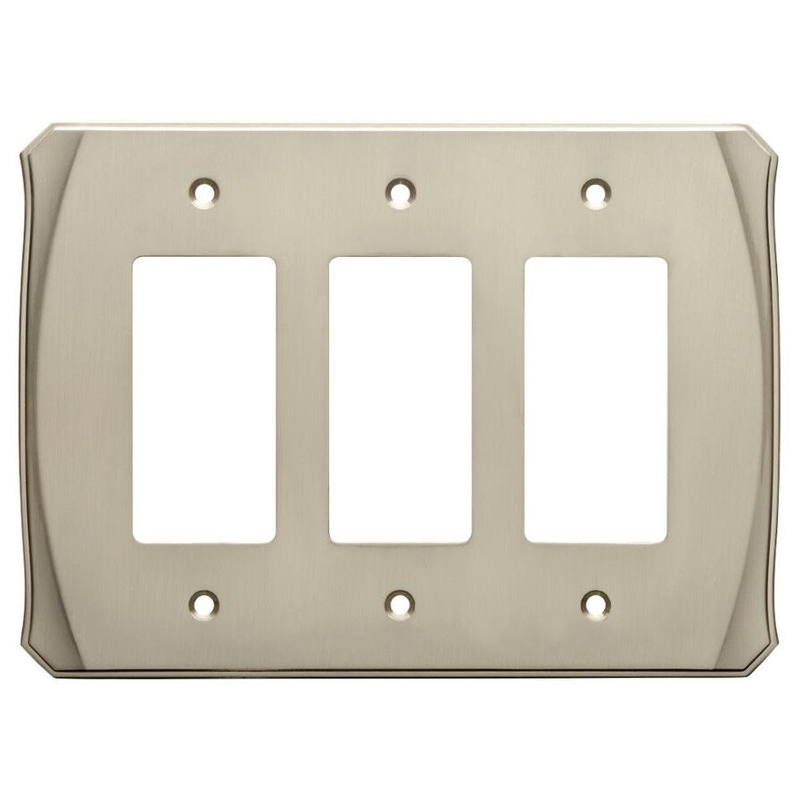Nickel Triple Decorator Wall Plate GFCI Brainerd W34481