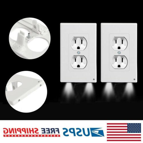 2 Pack Outlet Wall Plate Led Night Lights Cover Duplex With