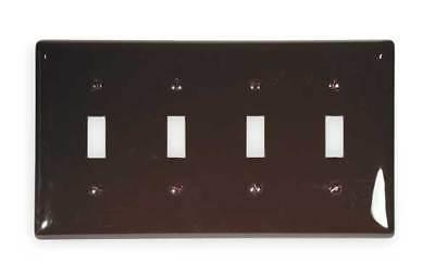 HUBBELL WIRING DEVICE-KELLEMS NP4 Wall Plate,4 Gang, Brown