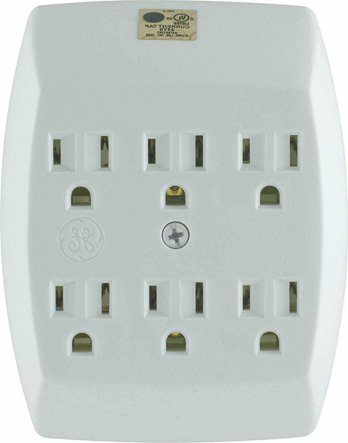 Outlet Cover Plate Plug Wall Tap Adapter 6 Socket Electrical