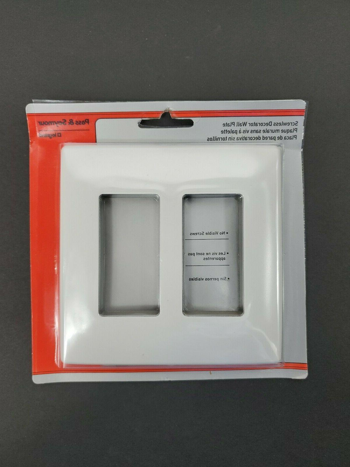 Pass Seymour Legrand Screwless Decorator Wall Plate Light Almond White NEW