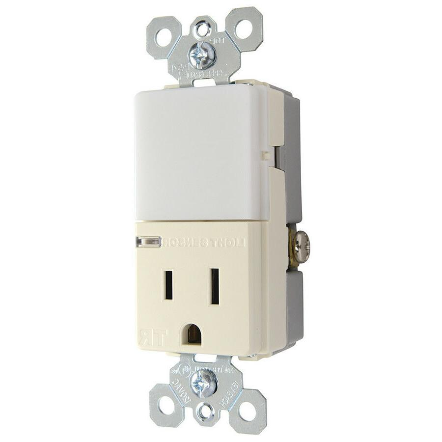 Pass & Seymour Night Light Sensor Outlet 15 Amp Light Almond
