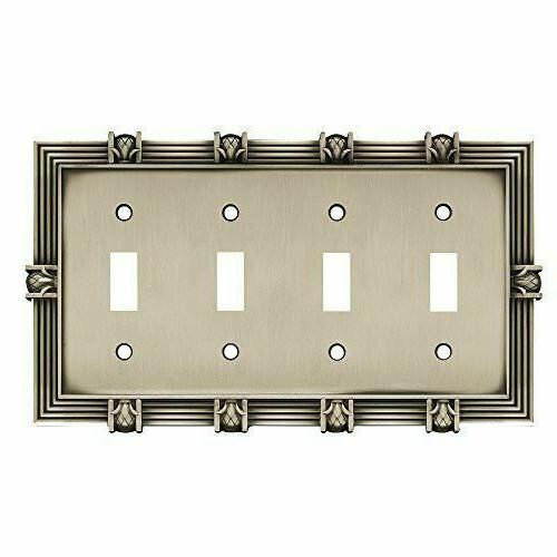 Quad Switch Plate Pineapple Satin Pewter Franklin Brass 6446