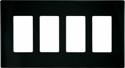 Eaton PJS264BK Decorator Screwless Wallplate 4-Gang Black Fr
