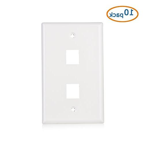 Cable 2-Port Keystone Jack Wall Plate in White