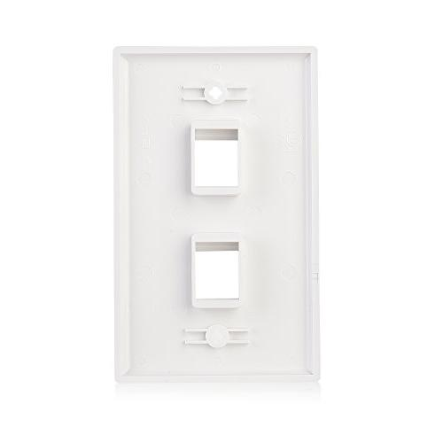 Cable 2-Port Keystone Jack Plate in White