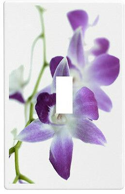 purple orchids flower wallplate wall plate decorative