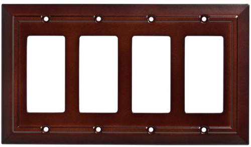 quad decorator wall plate architectural espresso brown