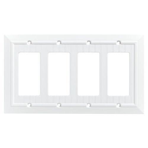 Quad Decorator Wall Plate Beadboard PURE WHITE Franklin Bras