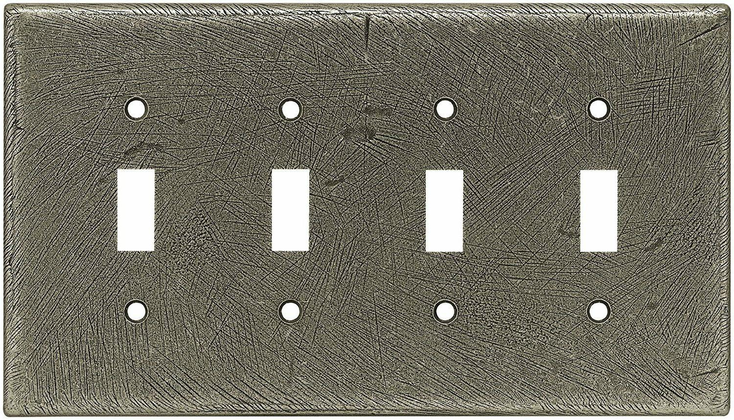 Quad Toggle Switch Wall Plate Distressed Rustic Silver Brain