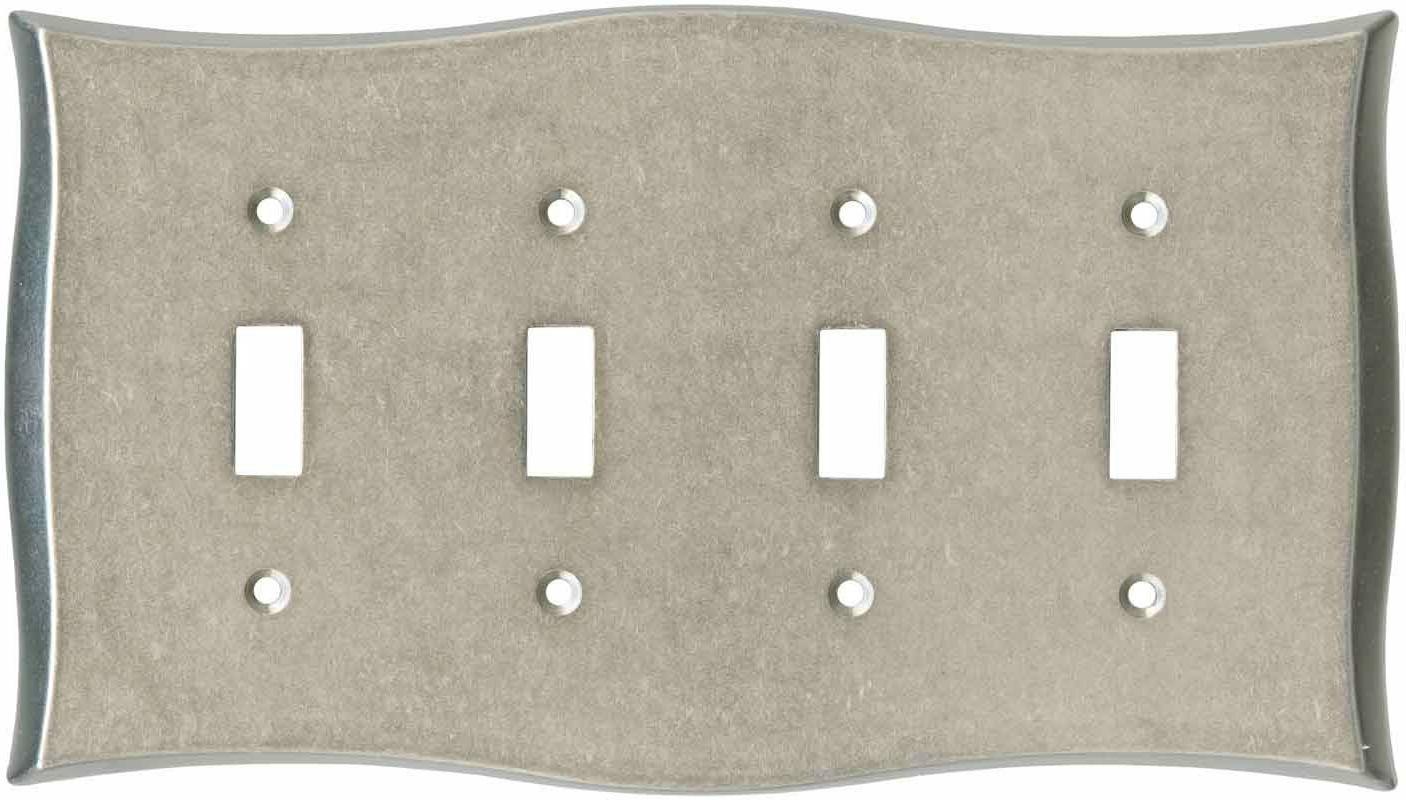 quad toggle wall plate vintage nickel 144042