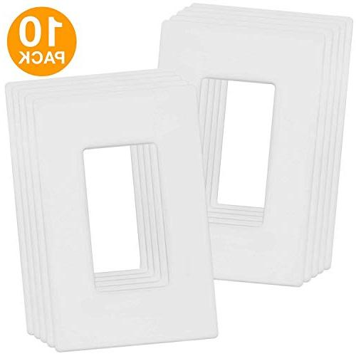Enerlites Screwless Decorator Wall Plates Outlet Size, Unbreakable White