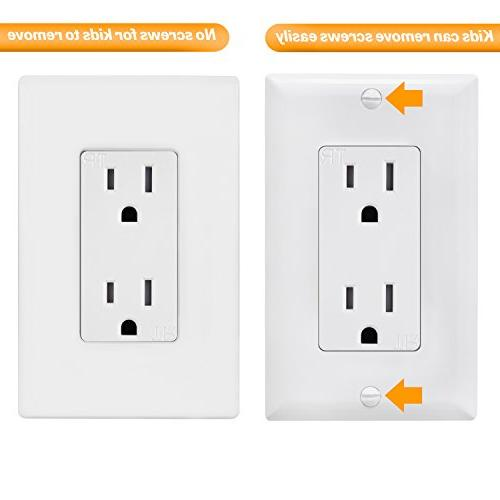 Enerlites SI8831-W-10PCS Wall Outlet Covers, Size, Unbreakable Polycarbonate Thermoplastic, White