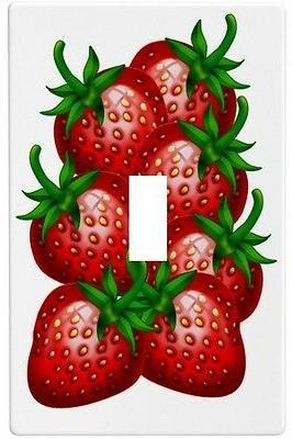 single strawberry strawberries wall plate decorative light