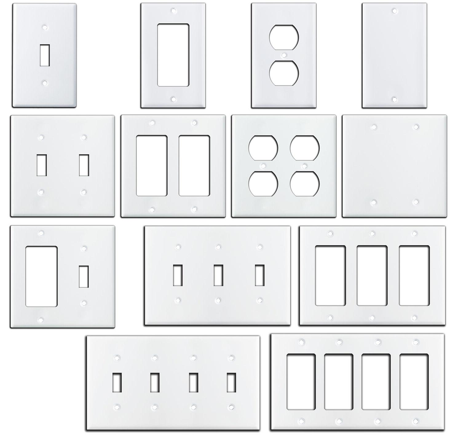 smooth gloss white metal wall plate covers