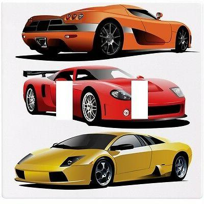 sports cars red yellow orange wall plate