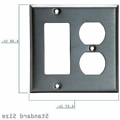 ENERLITES Combination Decorator Wall Plate Stainless Steel