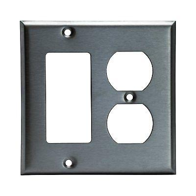 Stainless Steel 2 Gang Duplex & Decorator Wall Switch Plate