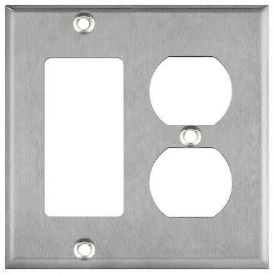 stainless steel 2 gang duplex and decorator