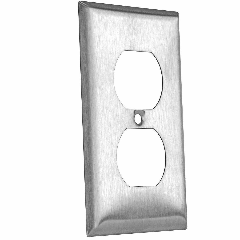 ENERLITES Duplex Receptacle Outlet Wall Plate 1-Gang Stainless Steel 50Pack