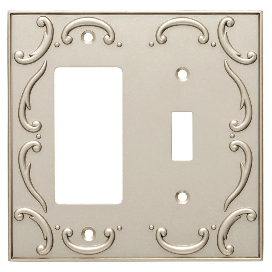 switch decorator wall plate french lace nickel