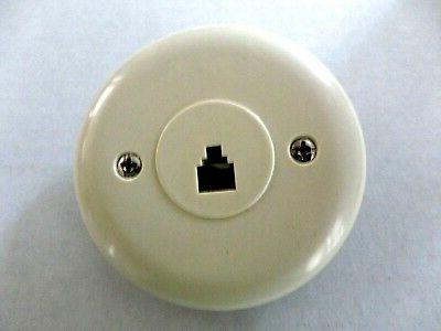 Telephone Wall Round Circular RJ11-6P4C 4-Conductor Jack, Ivory