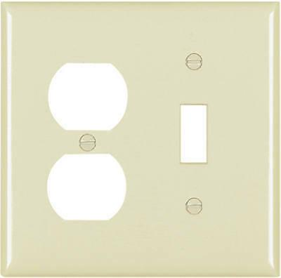 Toggle/Duplex Receptacle Oversize Wall Plate, 2-Gang, Ivory