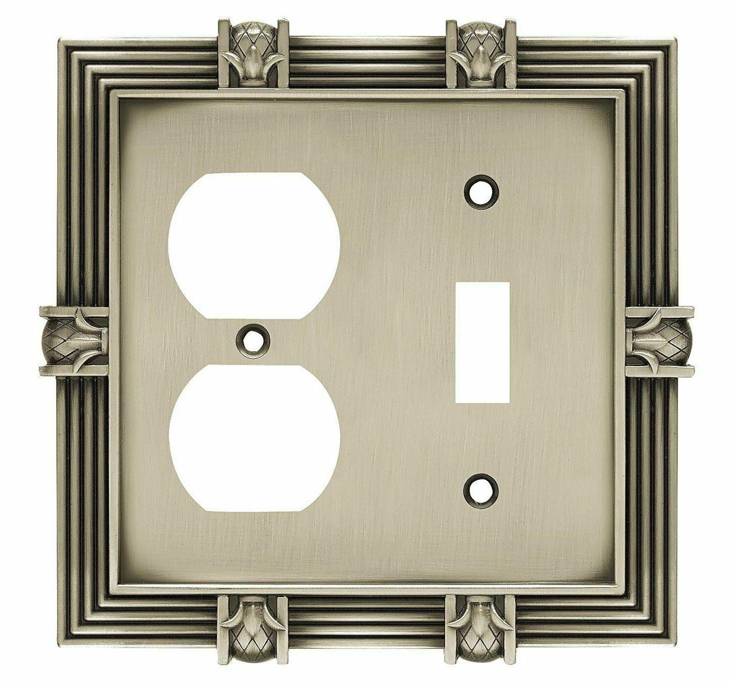 Toggle Outlet Wall Plate Pineapple Satin Pewter Franklin Bra