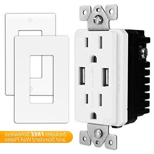 TOPGREENER Speed Wall Charger, with USB, 15A Receptacle, Wall for iPhone X, iPhone 8/8 Samsung and more,