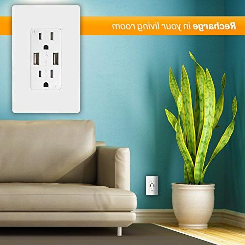 TOPGREENER Speed USB Outlet, Wall Receptacle, Screwless for X, 8/8 and more, White