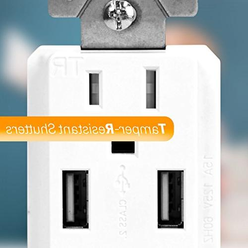 TOPGREENER USB Charger Wall Receptacle, Wall for 8/8 Plus, Samsung and more,