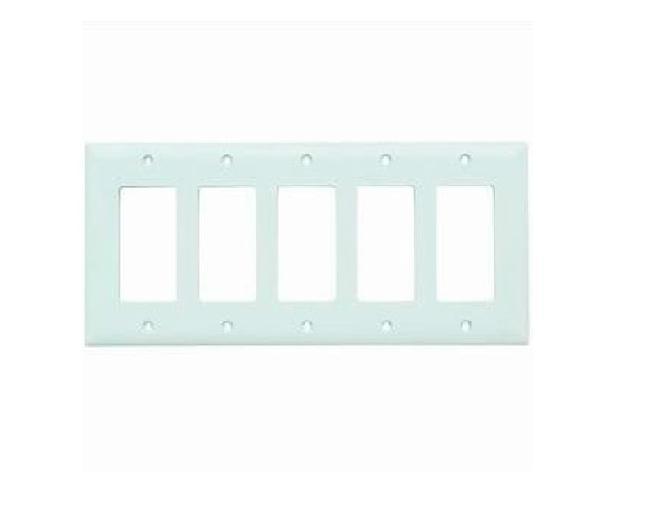 TP265W White Decorator Openings Wallplate 5-Gang