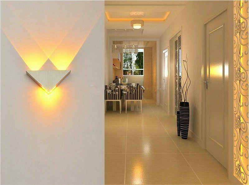 Triangle Wall Led Bulb Bedroom Night Light Mounted