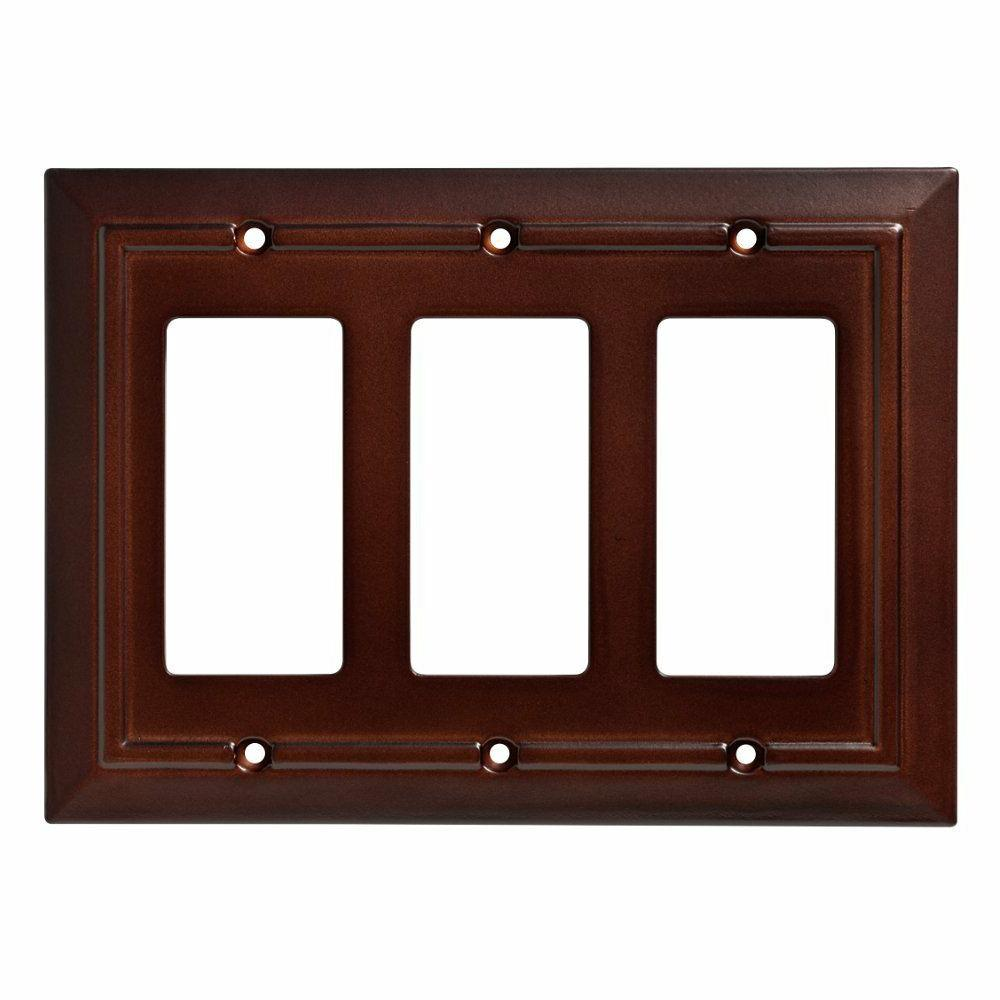 Triple Decorator Wall Plate Architectural Espresso Brown Fra